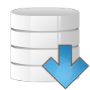 128x128px size png icon of database arrow down