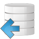 128x128px size png icon of database arrow left