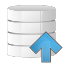 128x128px size png icon of database arrow up