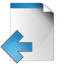 128x128px size png icon of document arrow left