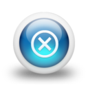 128x128px size png icon of Glossy 3d blue delete