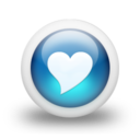 128x128px size png icon of Glossy 3d blue heart