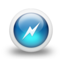 128x128px size png icon of Glossy 3d blue power