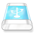 128x128px size png icon of drive blue usb