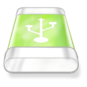 128x128px size png icon of drive green usb