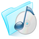 128x128px size png icon of folder blue musique