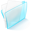 128x128px size png icon of folder blue paper