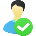 128x128px size png icon of Male user accept