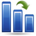 128x128px size png icon of Histogram down