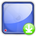 128x128px size png icon of hd blue downloads