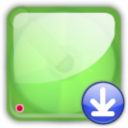128x128px size png icon of hd green downloads