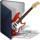 128x128px size png icon of folder blue music