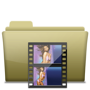 128x128px size png icon of Folder Movie Brown