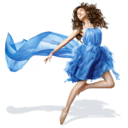 128x128px size png icon of Girls Blue Dress