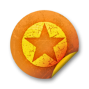 128x128px size png icon of Orange sticker badges 036