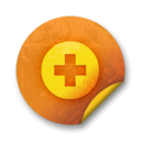 128x128px size png icon of Orange sticker badges 038