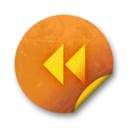128x128px size png icon of Orange sticker badges 057