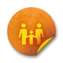 128x128px size png icon of Orange sticker badges 068