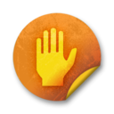 128x128px size png icon of Orange sticker badges 070