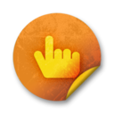128x128px size png icon of Orange sticker badges 072