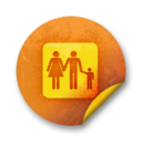 128x128px size png icon of Orange sticker badges 085