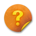 128x128px size png icon of Orange sticker badges 090