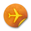 128x128px size png icon of Orange sticker badges 291