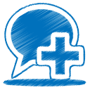 128x128px size png icon of blue balloon plus