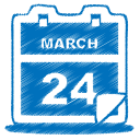 128x128px size png icon of blue calendar
