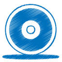 128x128px size png icon of blue cd