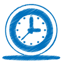 128x128px size png icon of blue clock