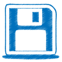 128x128px size png icon of blue disk