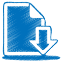 128x128px size png icon of blue document download