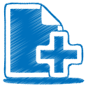 128x128px size png icon of blue document plus