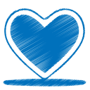 128x128px size png icon of blue heart