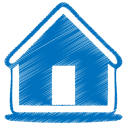128x128px size png icon of blue home