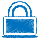 128x128px size png icon of blue lock
