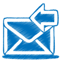 128x128px size png icon of blue mail receive