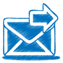 128x128px size png icon of blue mail send