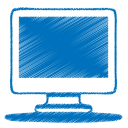 128x128px size png icon of blue monitor