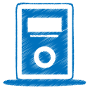 128x128px size png icon of blue mp3 player