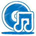 128x128px size png icon of blue music cd