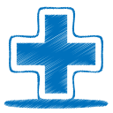 128x128px size png icon of blue plus