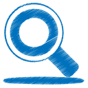 128x128px size png icon of blue search