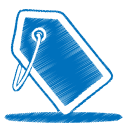 128x128px size png icon of blue tag