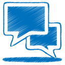 128x128px size png icon of blue talk