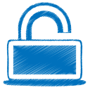 128x128px size png icon of blue unlock
