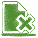 128x128px size png icon of green document cross