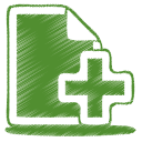 128x128px size png icon of green document plus