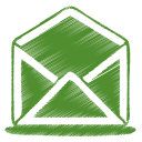 128x128px size png icon of green mail open